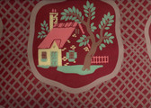 Fairie tale cottages in amebic shapes total sweet fantasy. Maroon, yellow, coral and green