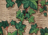 another fabulous 1950&#039;s ivy on a basket woven background. Rich,rich color and depth.