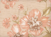 European wallpaper from the late 1950's. Exquisite rendering of Poppies on a faux grass back.