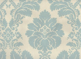 Classic Damask in powder blue on white. European double roll of 56 square feet. Printed in England.
