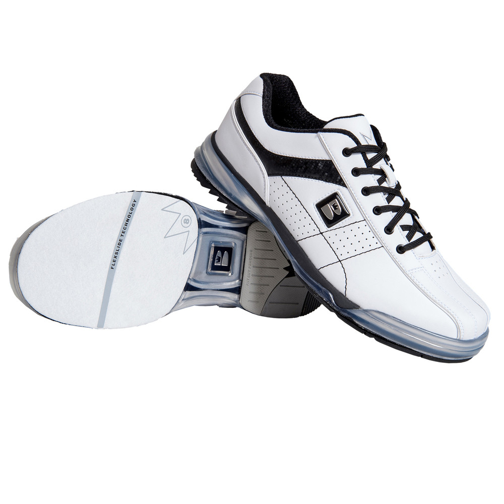 Brunswick TPU X Mens Bowling Shoes White Black Right Hand stacked side view