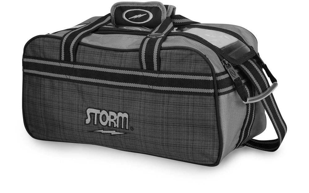 Storm 2 Ball Tote Bowling Bag Plaid Grey Black