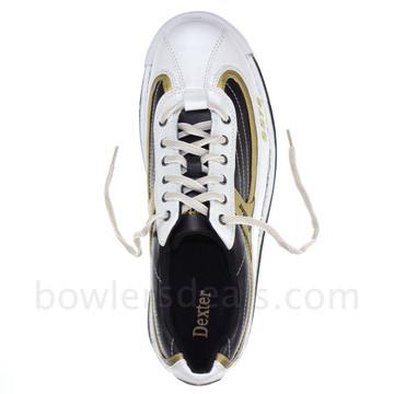 Dexter SST 8 Mens Bowling Shoes White/Black/Gold top view