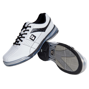 Brunswick TPU X Mens Bowling Shoes White Black Right Hand stacked angle view