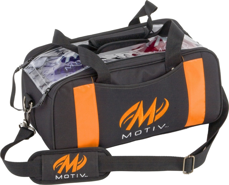 Motiv Clear View 2 Ball Double Tote Bowling Bag Orange