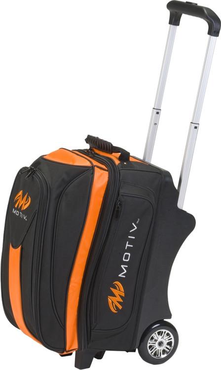 Motiv Deluxe 2 Ball Double Roller Bowling Bag Black/Orange