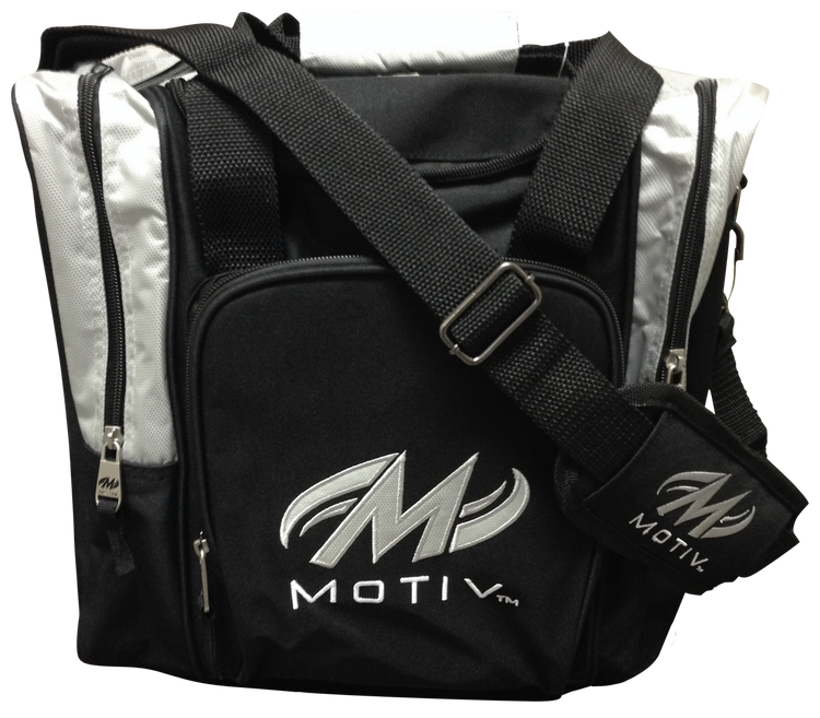 Motiv 1 Ball Ascent Single Tote Bowling Bag Black Silver