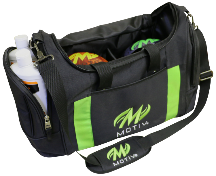 Motiv Deluxe 2 Ball Double Tote Bowling Bag Black Green