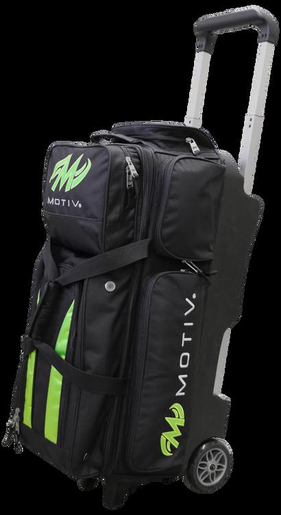 Motiv Deluxe 3 Ball Triple Roller Bowling Bag Black Green