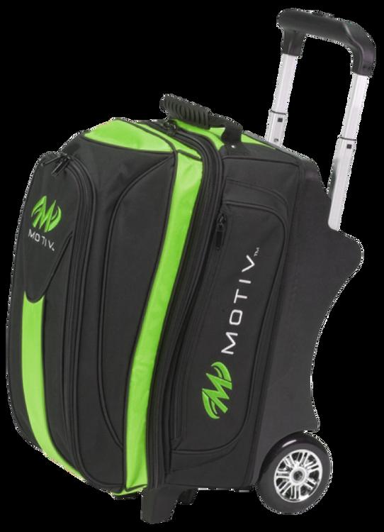 Motiv Deluxe 2 Ball Double Roller Bowling Bag Black/Green