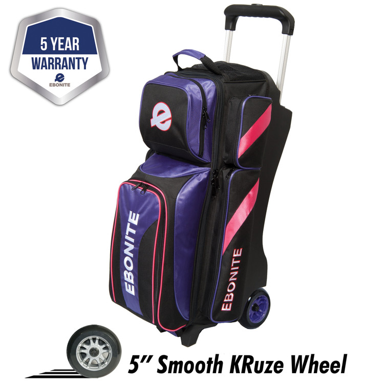 Ebonite Equinox 3 Ball Triple Roller Bowling Bag Purple Pink