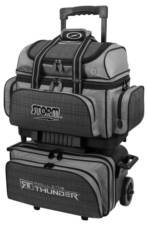 Storm Rolling Thunder 4-Ball Roller Bowling Bag Plaid Grey Black