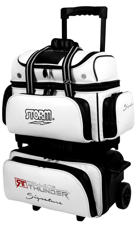 Storm Rolling Thunder Signature 4-Ball Roller Bowling Bag White Black