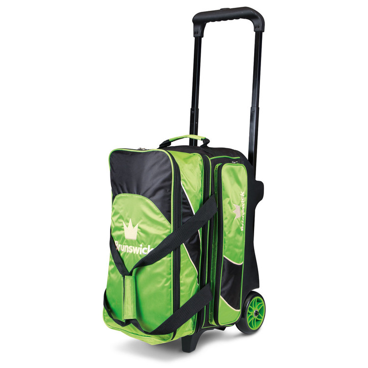 Brunswick Edge 2 Ball Double Roller Bowling Bag Lime