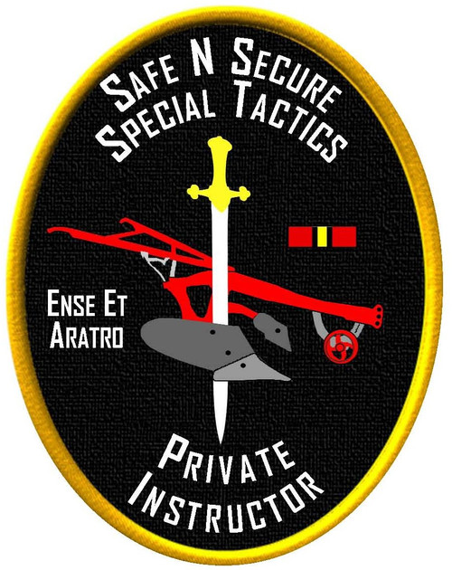 The Safe N Secure Special Tactics Instructor patch, 100% Embroidery with velcro backing to allow you to move it from your shirt to your cap to your bag, can only be purchased by individual who complete the Safe N Secure (SnS) Instructor training successfully.