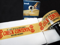 Printed Carton Sealing Tape - Check Contents 2.0 Mil 3 in - Red/Yellow