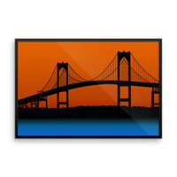 Newport Bridge Vector Framed photo paper poster
