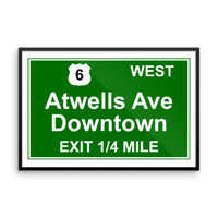 Atwells Ave Exit Framed poster