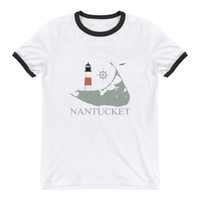 Sankaty Head Lighthouse Ringer T-Shirt