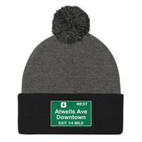 Atwells Ave Exit Pom Pom Knit Cap