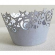 Cupcake Wrappers Stars Silver