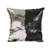 Decorative Sequin Throw Pillow 17x17 Inch, Comfortable Fill For Living Room, Couch, Bedroom, Fun Mermaid Reversible Style BLACK / SILVER