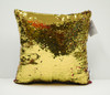 Decorative Sequin Throw Pillow 17x17 Inch, Comfortable Fill For Living Room, Couch, Bedroom, Fun Mermaid Reversible Style Red / Gold