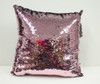 Decorative Sequin Throw Pillow 17x17 Inch, Comfortable Fill For Living Room, Couch, Bedroom, Fun Mermaid Reversible Style Pink / Silver