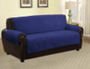 Quilted Microfiber Pet Dog Couch Furniture Protector Navy Blue - Sofa