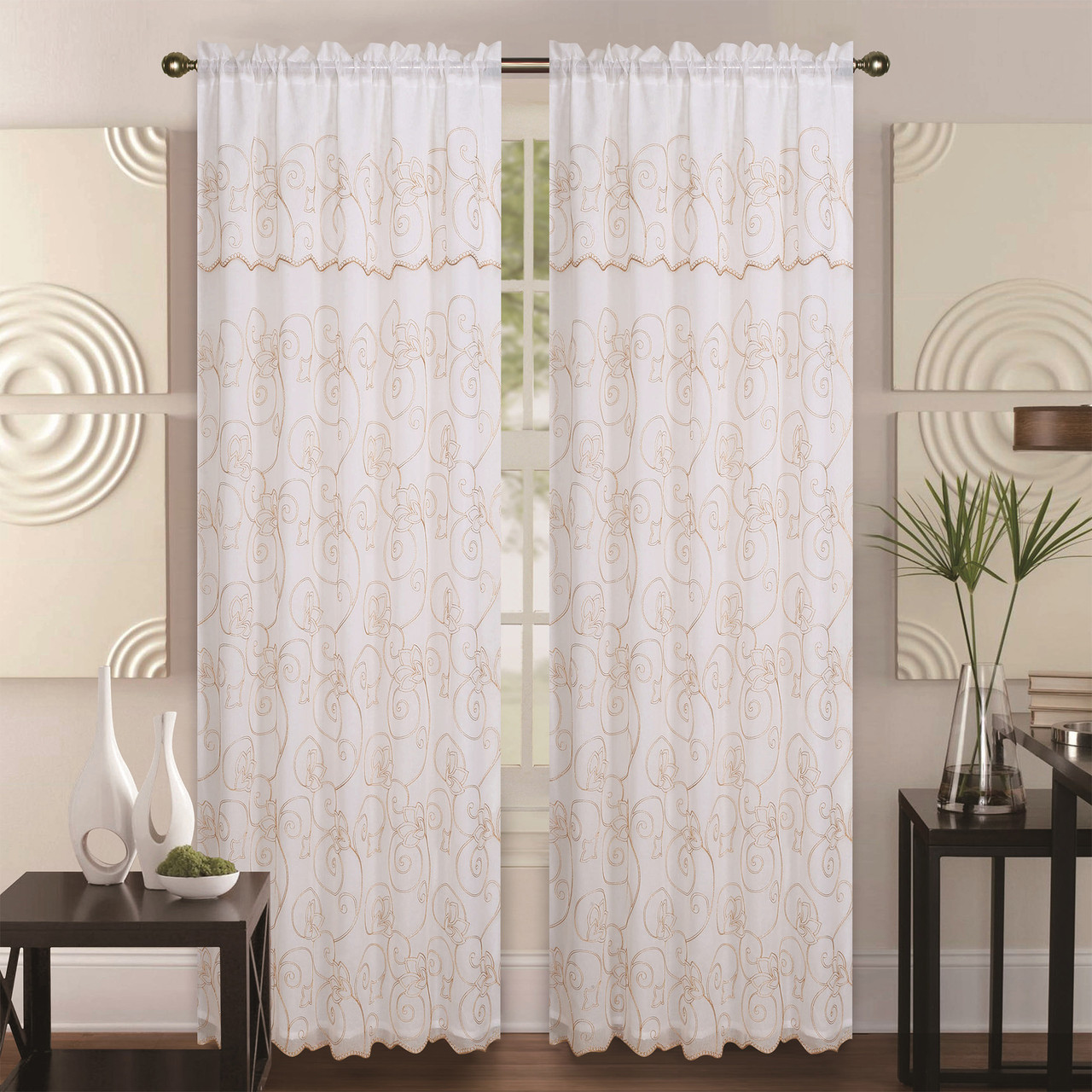 Linen window treatments - Double Layer Embroidery Floral Sheer Linen Front Faux Silk Back Rod Pocket Valance Decorative