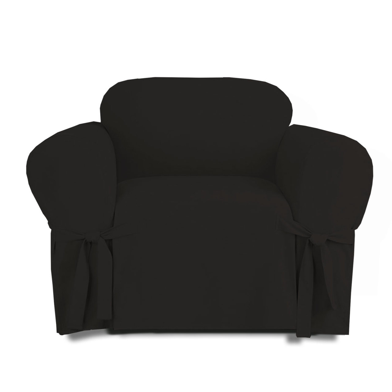 Linen Store Microsuede Slipcover Furniture Protector Cover Chair Black.