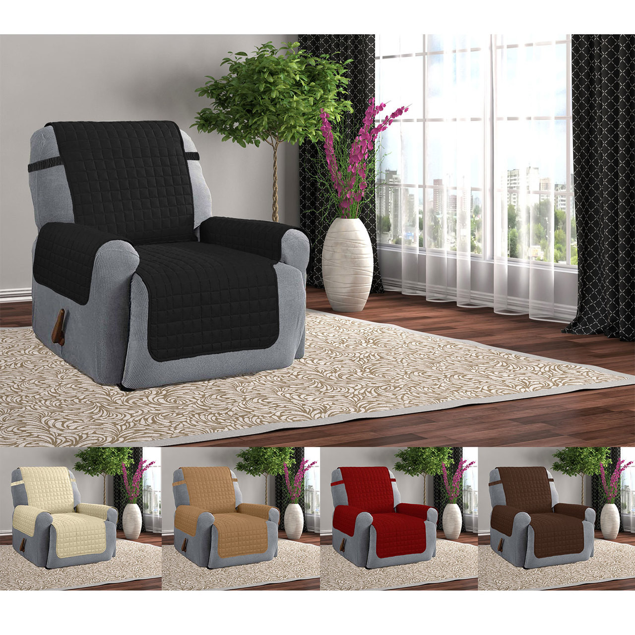 Quilted Microfiber Furniture Recliner Pet Protector Cover With Tucks u0026 Strap & Microfiber Furniture Recliner Pet Protector Cover With Tucks u0026 Strap islam-shia.org