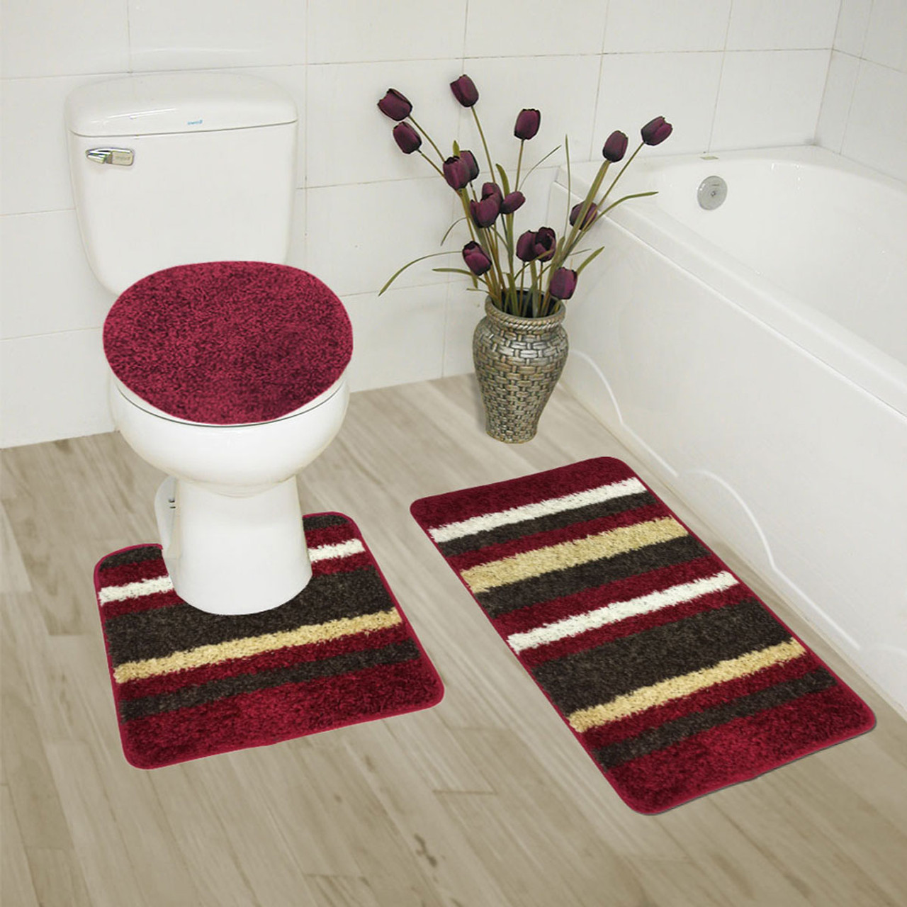 Abby 3 Piece Bathroom Rug Set, Bath Rug, Contour Rug, Lid Cover,