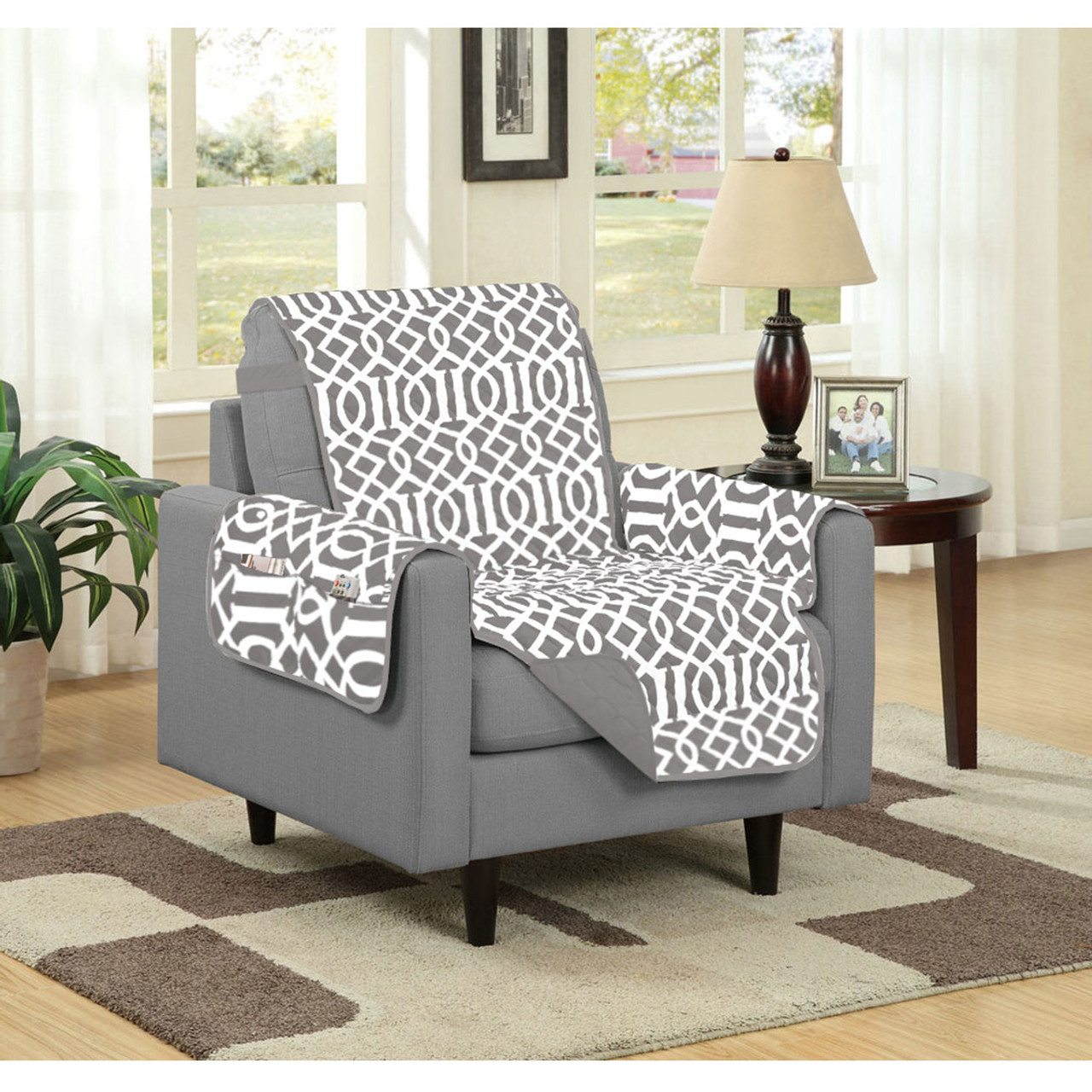 home essentials furniture. dallas reversible solidprint microfiber furniture protector with strap u0026 side pockets home essentials t