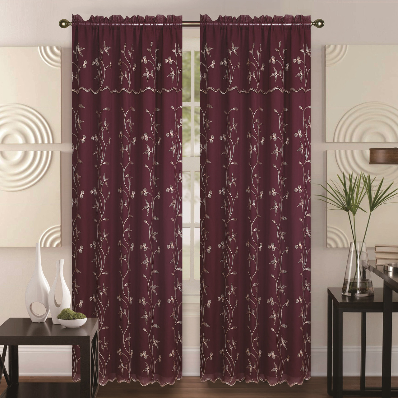 double layer embroidery floral vine sheer front fauz silk back rod pocket decorative curtain - Decorative Curtains