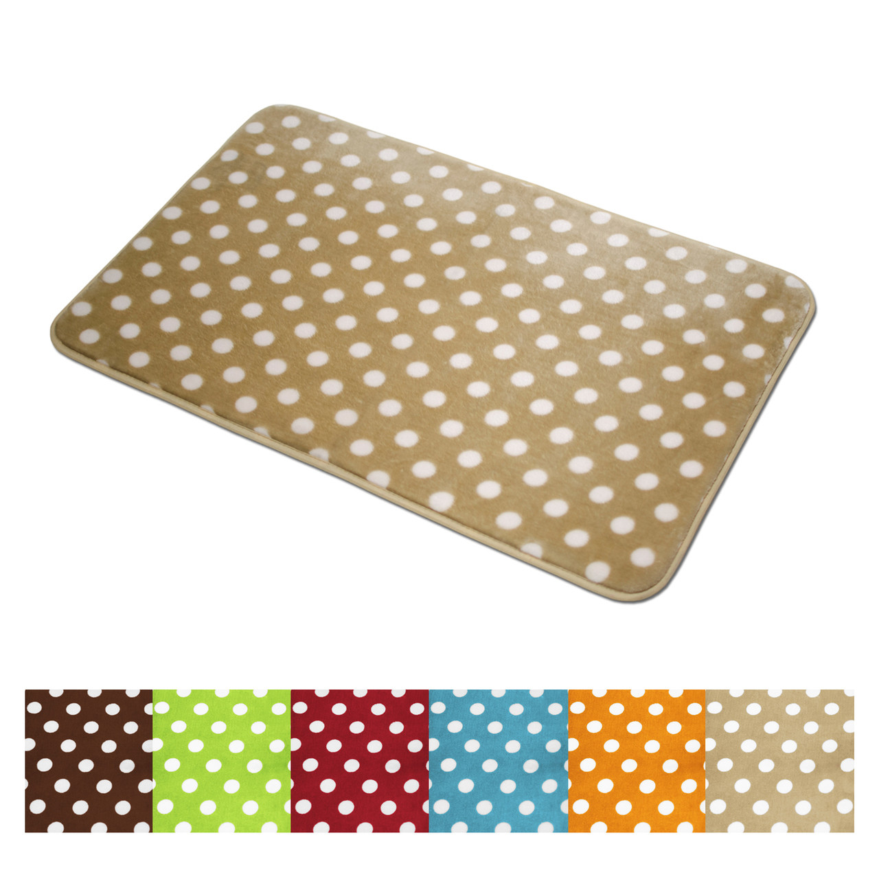 Bathroom mat polka dots microfiber soft plush lightweight for Big w bathroom mats