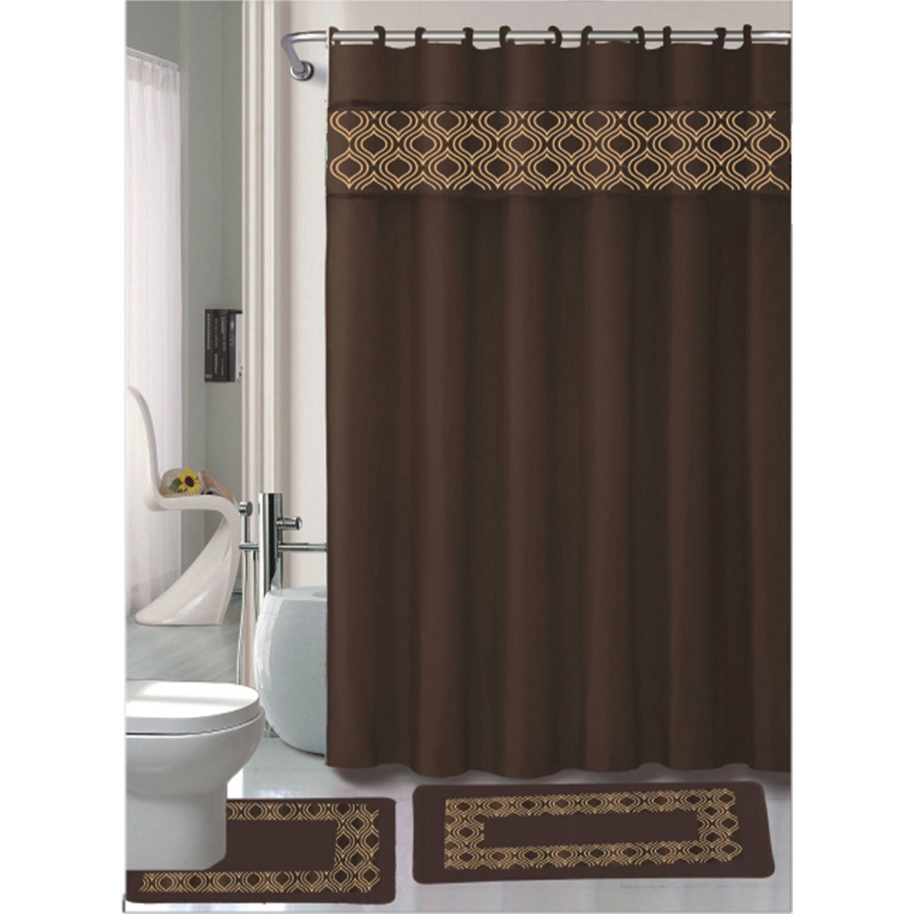 Gabrielle Chocolate 15 Pc Bathroom Accessories Set, Bath Mat, Contour Rug,  Shower Curtain