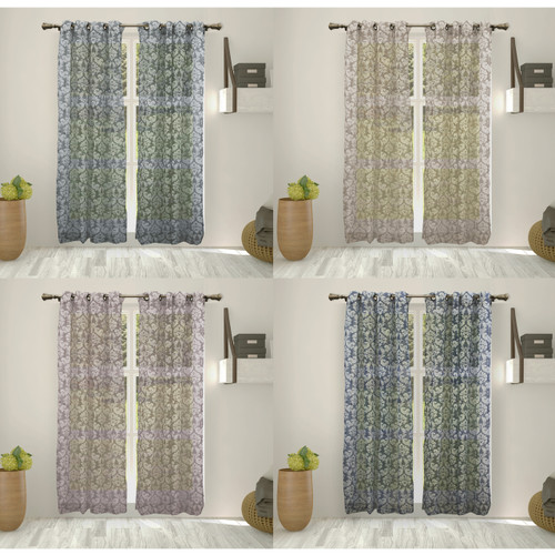 "Mallory Printed Faux Linen 54""x84"" Sheer Voile Decorative Light Filtering Curtain Panel Grommet Top, 2 Pack"