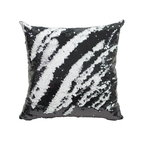Decorative Sequin Throw Pillow 17x17 Inch, Comfortable Fill For Living Room, Couch, Bedroom, Fun Mermaid Reversible Style BLACK / WHITE MATTE