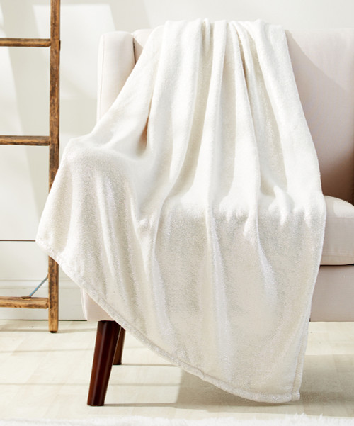 Luxury Soft Metallic Sparkle 50x70 Micro Plush Throw Blanket, Solid Colors