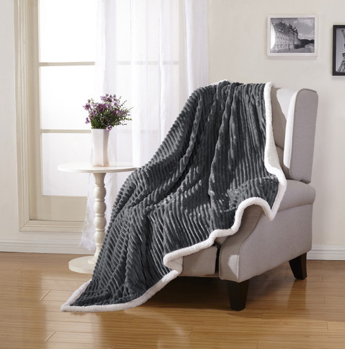 Soft Plush & Cozy Reversible Corduroy / Sherpa Lined 50x60 Inch Throw Blanket for Lounging on Couch in Winter