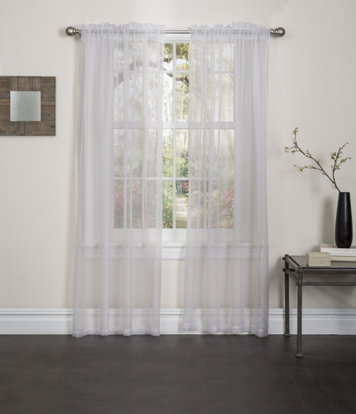 Lisa Sheer Voile Window Curtain Panel - Beige
