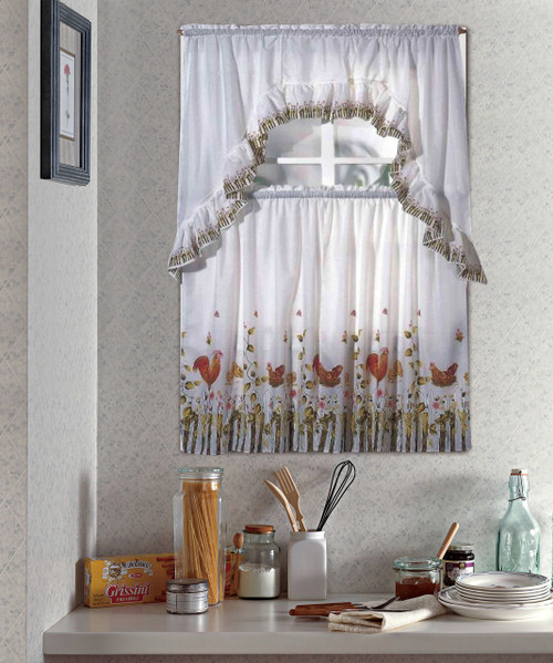Rooster White Kitchen Curtain Set