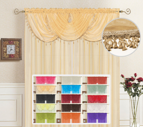 "Sheer Valance Rod Pocket, Tassel Fringe Border, Single Window Waterfall Valance, 36"" x 35"", Lisa"