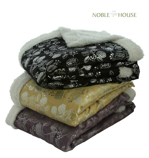 "Luxurious Plush Flower Print Blanket, 50"" X 60"", Black, Gray, Beige, Purple"