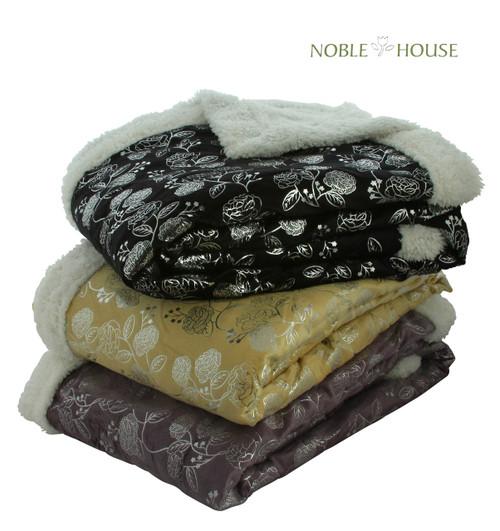 "Luxurious Plush Flower Print Blanket, 50"" X 60"", Black, Gray, Beige, Purple"