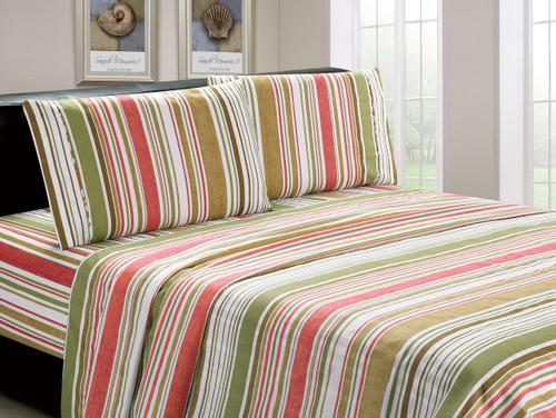 Microfiber Multicolored Striped 4 Piece Sheet Set