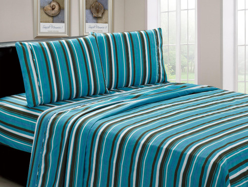 Microfiber Teal Striped 4 Piece Sheet Set