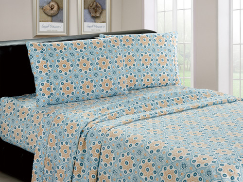 Microfiber Mint Mosaic 4 Piece Sheet Set