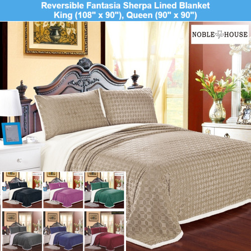 Sherpa lined Fantasia Blanket, Throw Bed Blanket